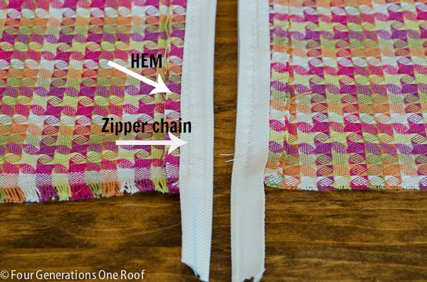 how to sew a zipper in a pillow case