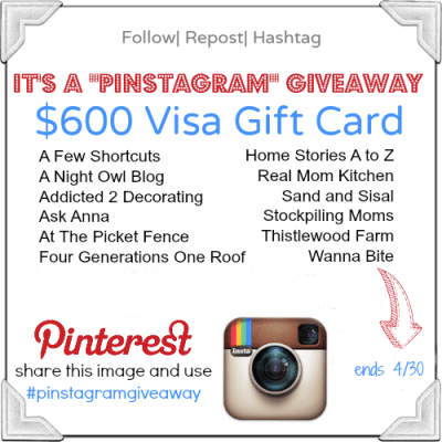 Pinstagram $600 Visa Gift Card Giveaway
