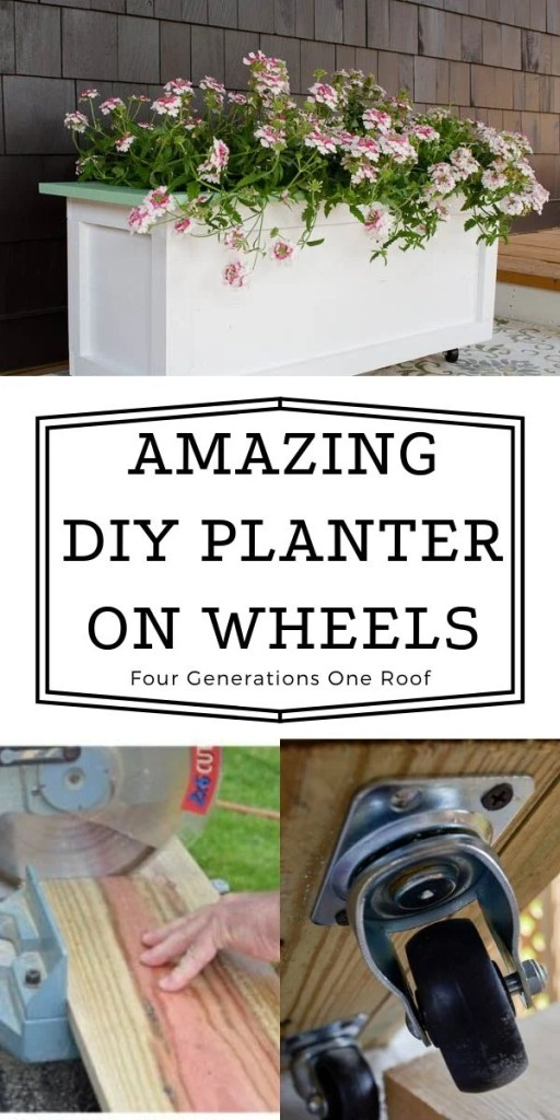large diy wood planter on wheels painted white