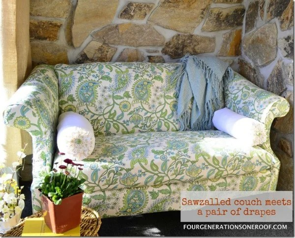 Green drapes used as fabric to reupholster a couch