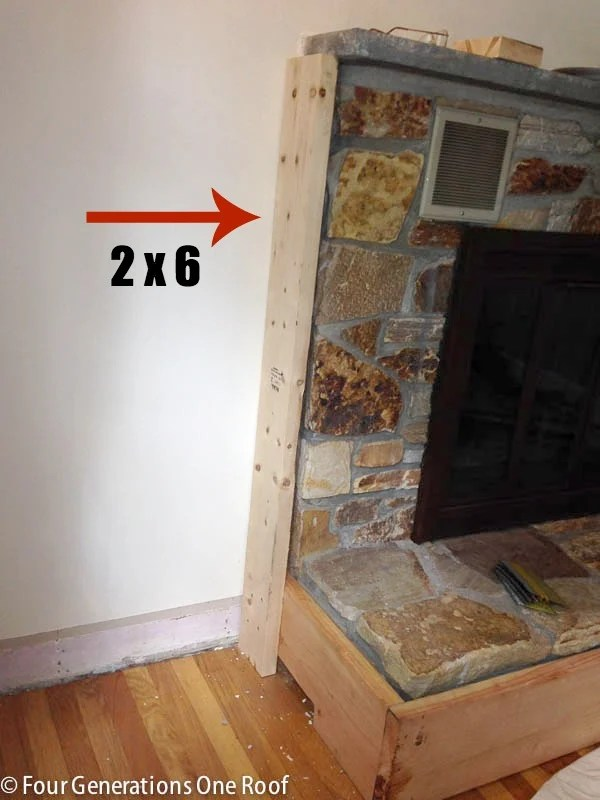 diy fireplace makeover {framing over vents}