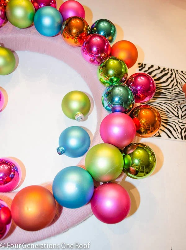 how to make a Christmas wreath with shatterproof ornaments