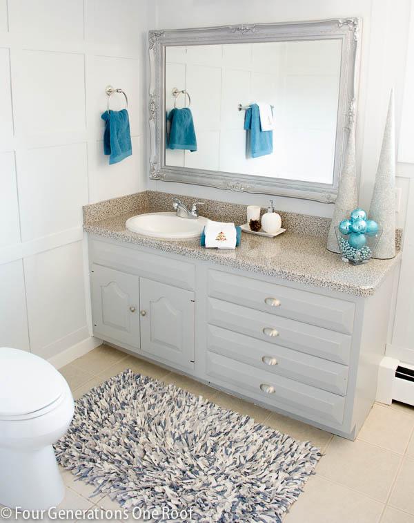blue bathroom update + bluetooth fan