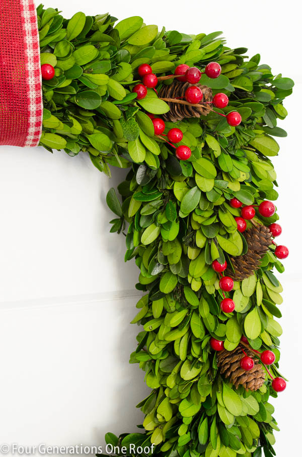 how to make a wreath using boxwood christmas wreath-3
