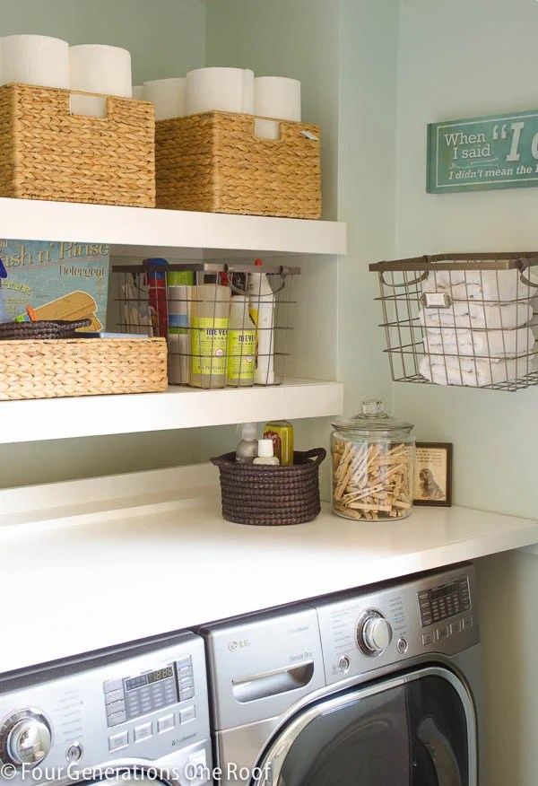 diy floating wood white shelves laundry room closet + wood folding table