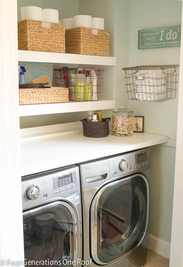 Budget Laundry Closet With Diy Floating Shelves Four Generations