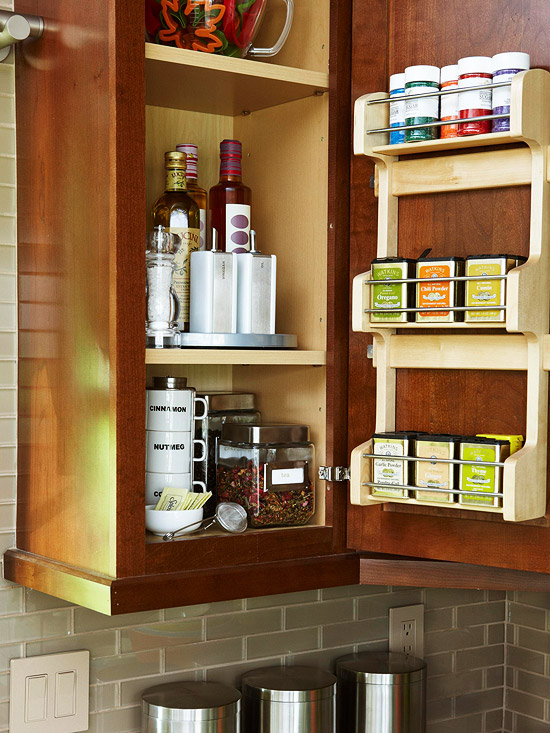 how to get organized inside door spice rack