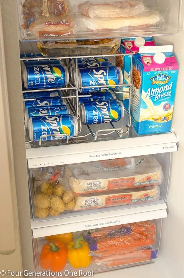 Soda organizer in a refrigerator