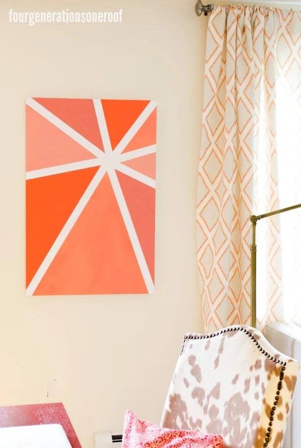 orange ombre wall art {tutorial} www.fourgenerationsoneroof.com