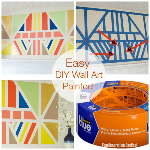*EASY HOW TO* Painted DIY wall art tutorial www.fourgenertionsoneroof.com #HomeofScotchBlue #3MPartner @ScotchBlue Painter's Tape