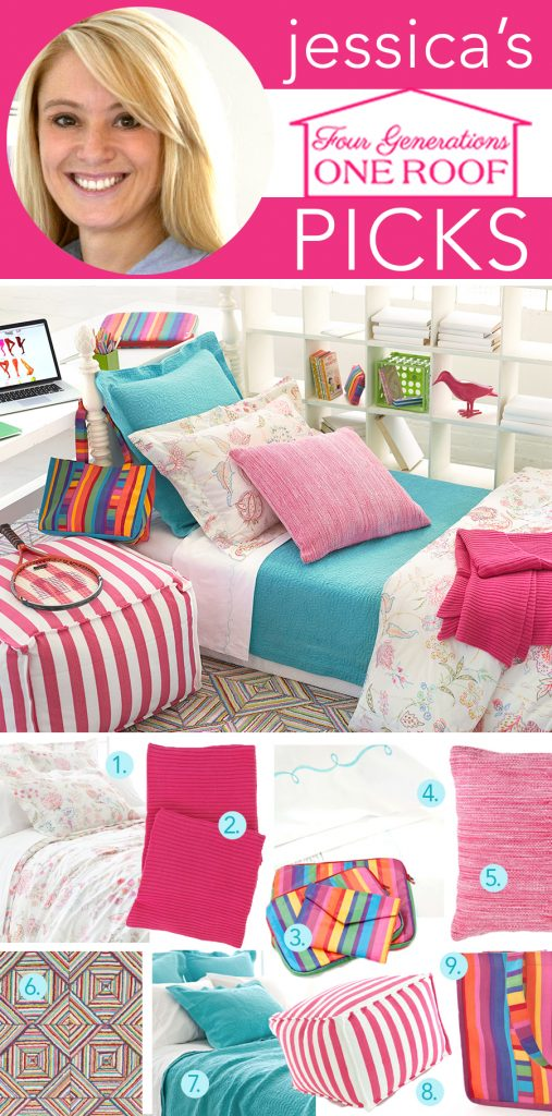 Boho girls back to school bedding with pinecone hill