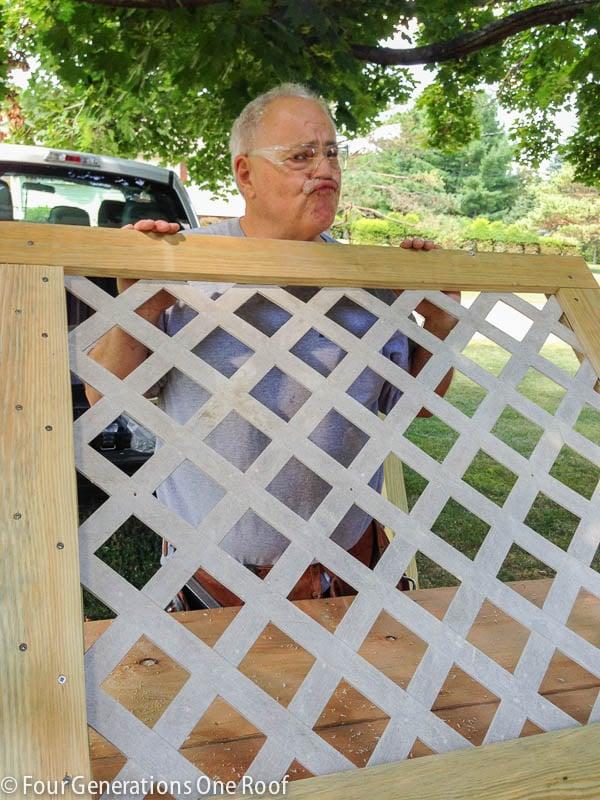 diy lattice privacy screen hide garbage can