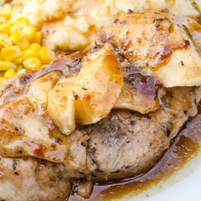 Thick Tender Pork Chops with Apples