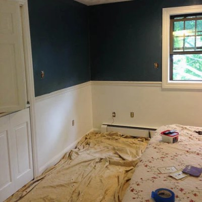 Blue master bedroom paint progress