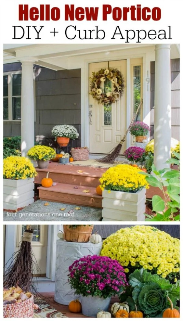 How to add curb appeal with a new DIY portico design at your front entry. Must see the before image.