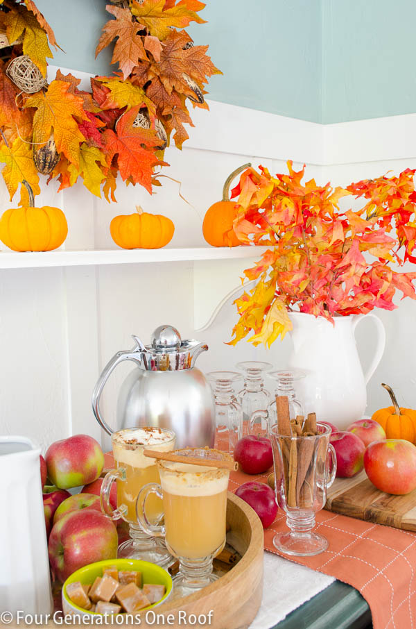 Hot apple cider station | Hot apple Cider Recipe | Fun Kitchen Island Fall Snack Station