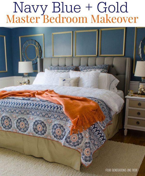 Gorgeous Navy Blue Gold Master Bedroom Makeover Four Generations