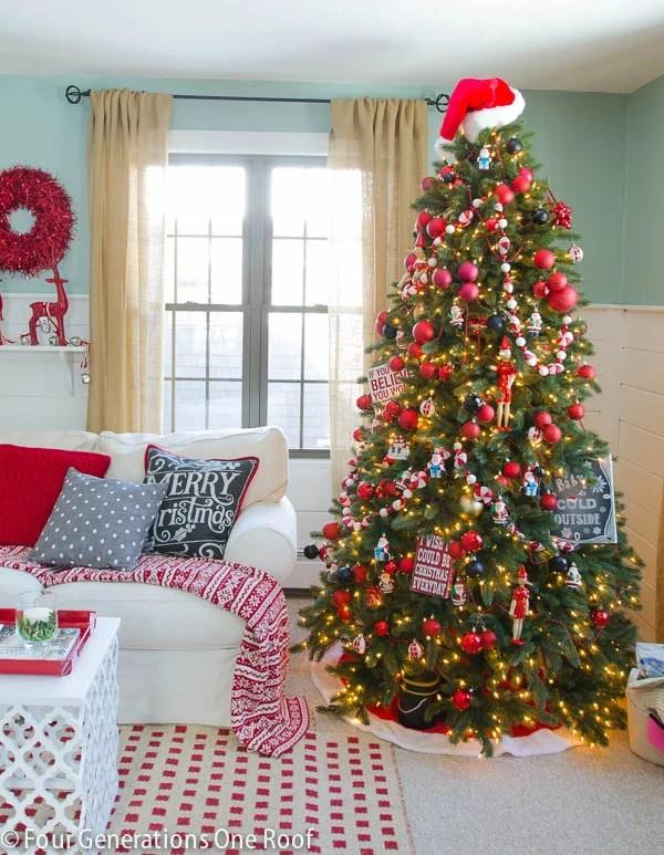 Gorgeous Christmas Home Tour 2014 / black + red living room