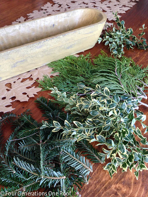 Christmas decorating with fresh greenery