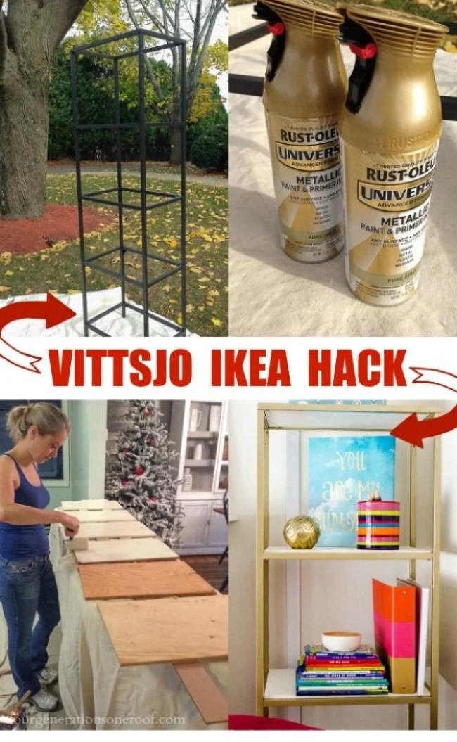 Ikea Hack Vittsjo Shelving {spray paint + wood shelving} - Four