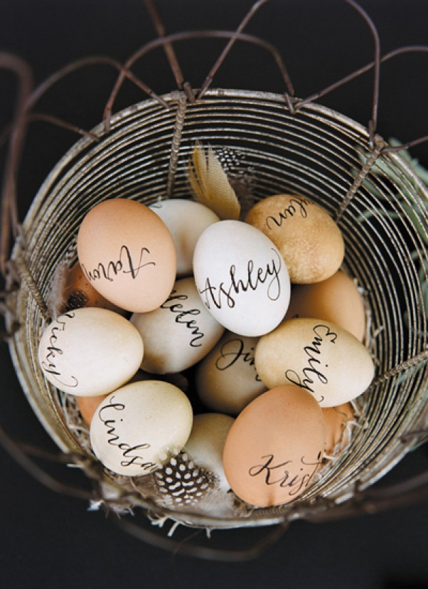 dozen easter egg ideas - calligraphy-lettered-eggs