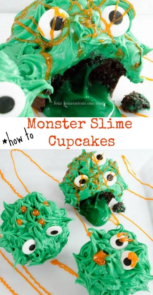 how to make monster slime cupcakes