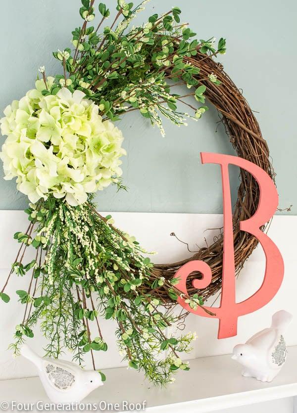 front porch ideas / hydrangea-monogram-wreath