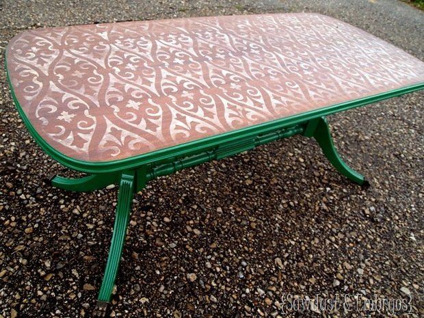 stenciled-distressed-green-coffee-table