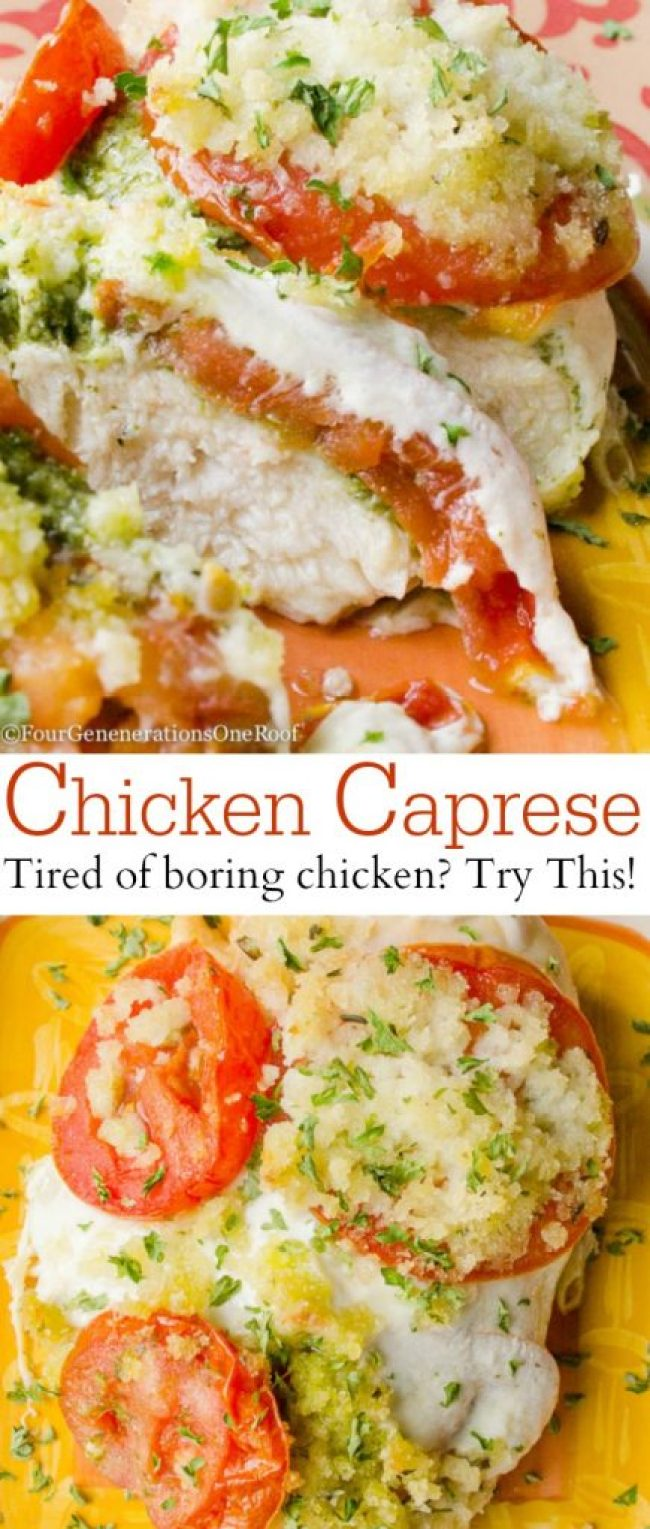 Delicious Chicken Caprese with pesto basil tomato and mozzarella . Quick and easy way to spice up boring chicken.