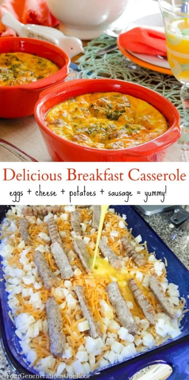 Delicious breakfast Casserole with eggs, potatoes, sausage and cheese. Perfect for large crowds!