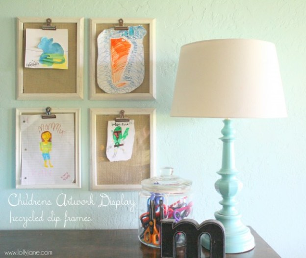 childrens-art-display-recycled-clip-frames-lollyjane.com_-600x505
