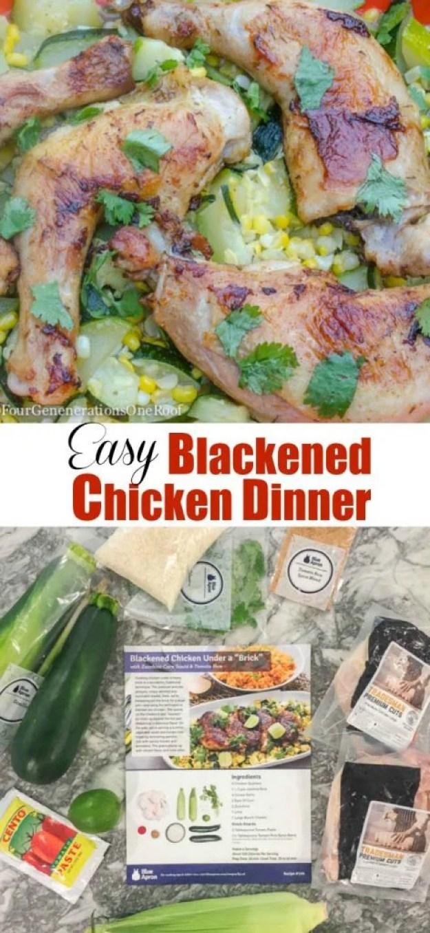 Delicious blackened chicken with zucchini and corn
