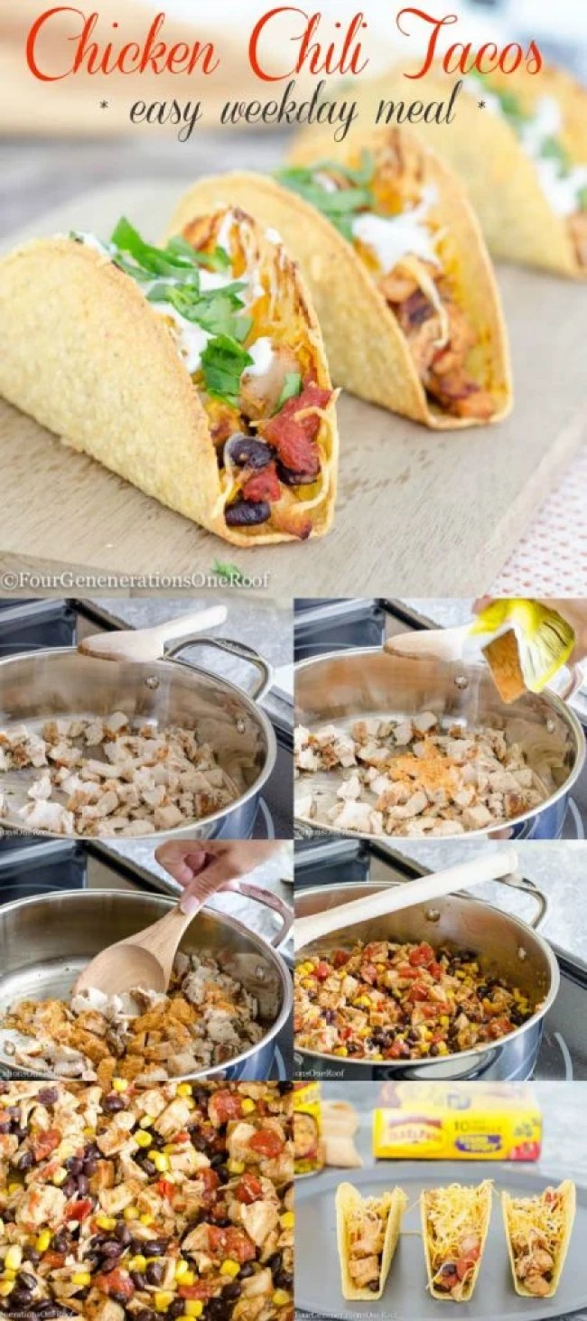 Chicken Chili Tacos {easy weekday meal} recipe steps