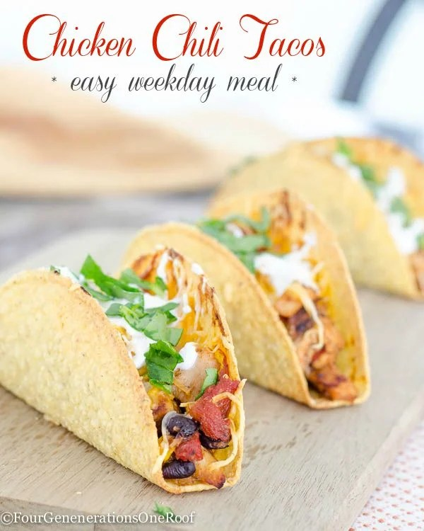 Quick Chicken chili tacos {easy weekday meal}