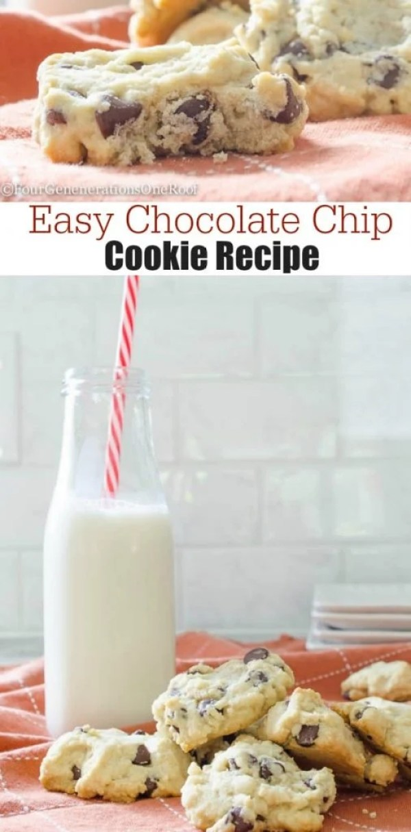 Easy chocolate chip cookies recipe. A family of four generations living under one roof makes cookies together on a rainy cold Saturday night. What a great tradition!