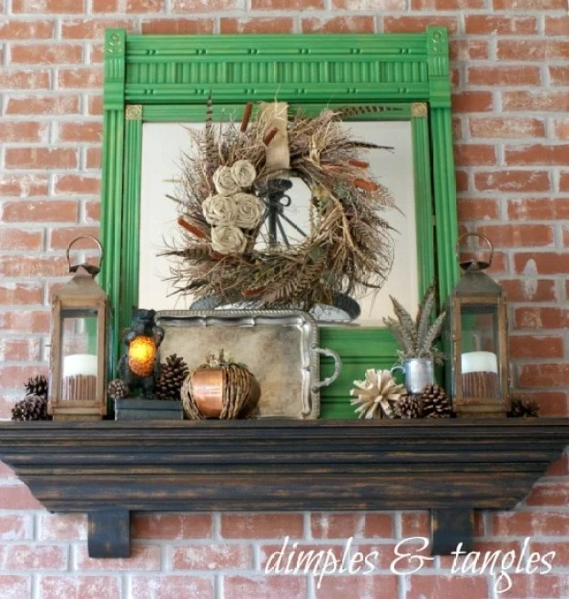 fall-mantel-with-pop-of-green
