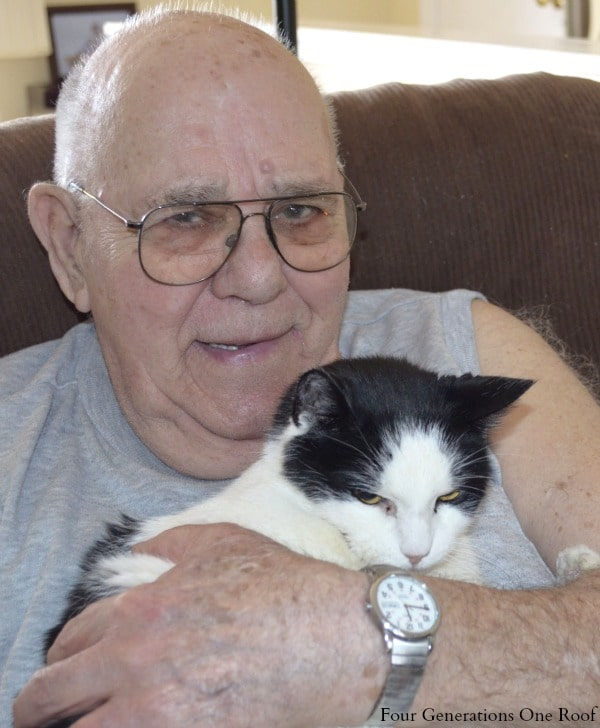 My grandfather and his new cat
