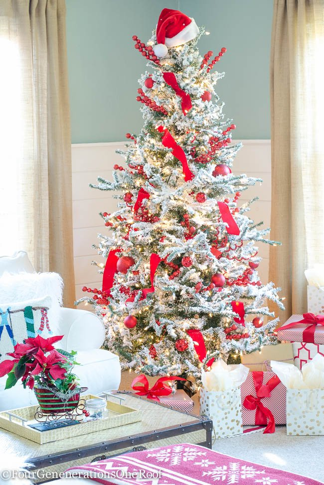 Christmas Home Tour 2015 Red + White Christmas Family Room 2015