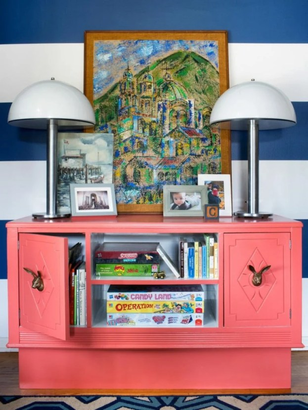 36 Tips for Getting Organized in 2016 coral-dresser-game-storage