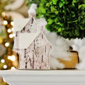 twig and boxwood Christmas mantel