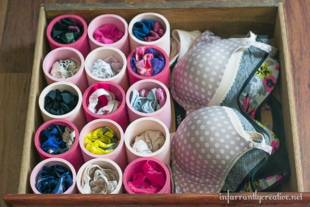 36 Tips for Getting Organized in 2016 underwear-storage-DIY