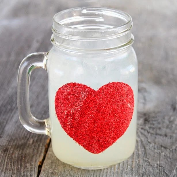 Valentine Mason Jar Ideas: Glitter Heart Mug by Creative Green Living