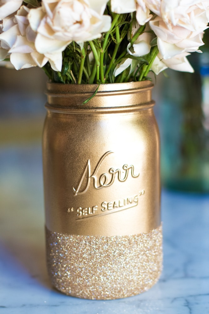 Valentine Mason Jar Ideas: Glitter Dipped Mason Jars by Lily Shop