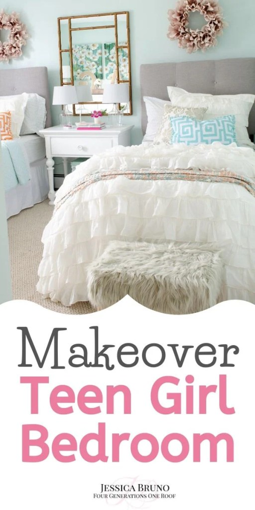 Teen Girl Bedroom Makeover + ruffle white bedding