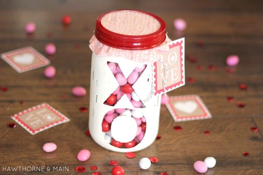 Valentine Mason Jar Ideas: See Through Valentine Mason Jar by Hawthorne and Main