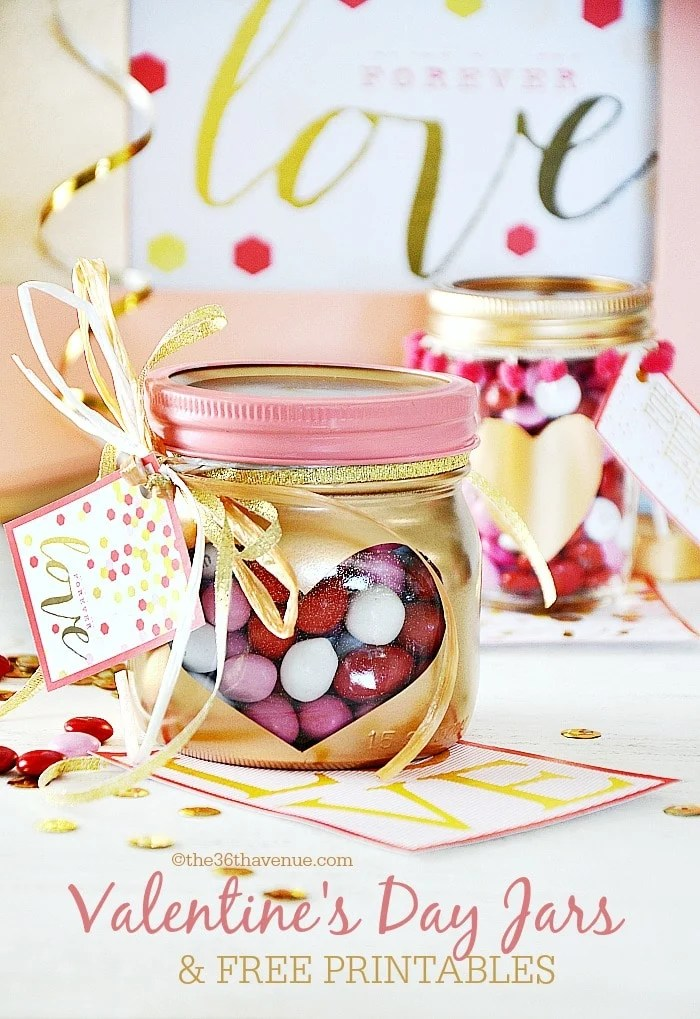 Valentine Mason Jar Ideas: Valentine's Day Heart Jars by The 36th Avenue