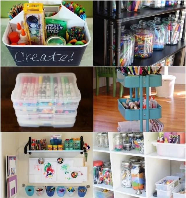 Art Supply Organization from Modern Parents Messy Kids