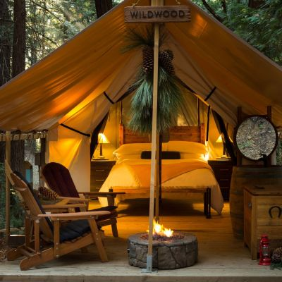 glamping open tent with lights