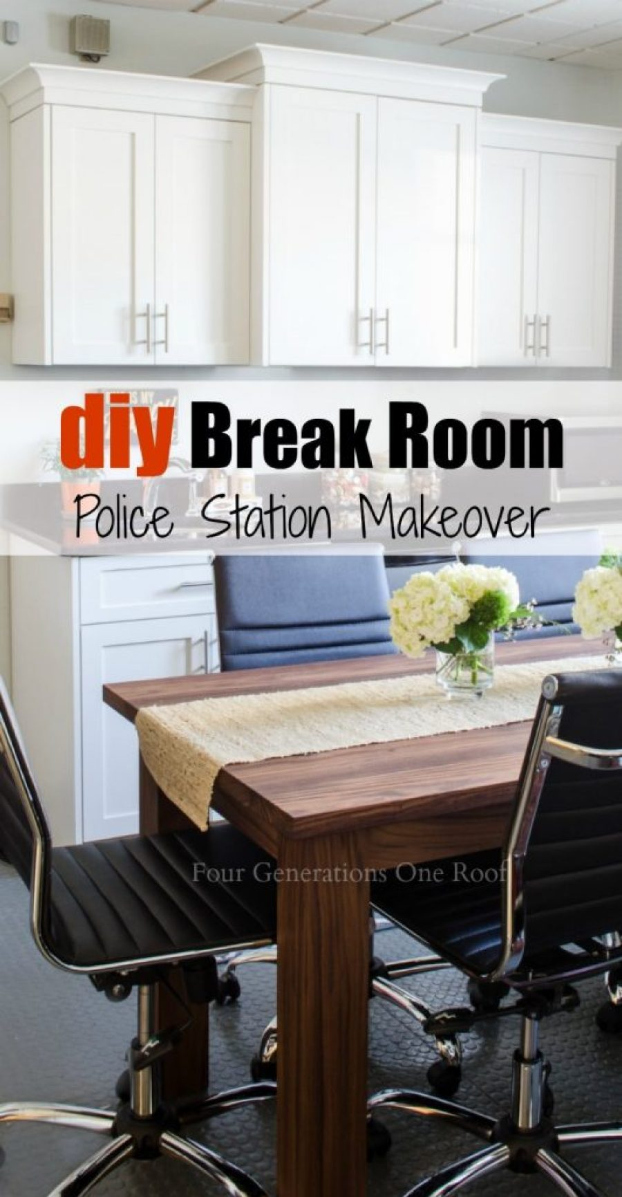 Police Station break room makeover : DIY workstation/DIY kitchen/DIY table