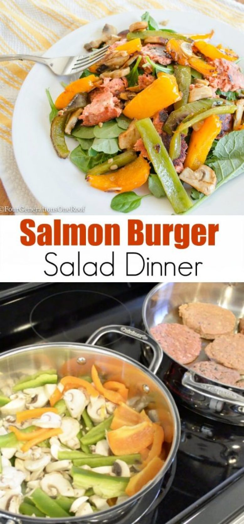 Salmon Burger Salad Dinner with roasted peppers and mushrooms